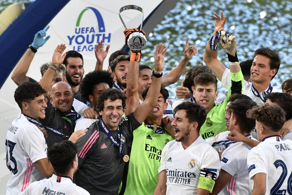 Real Madrid's players celebrate victory in the 2020 UEFA Youth League - but this season's competition has been cancelled due to pandemic concerns ©Getty Images
