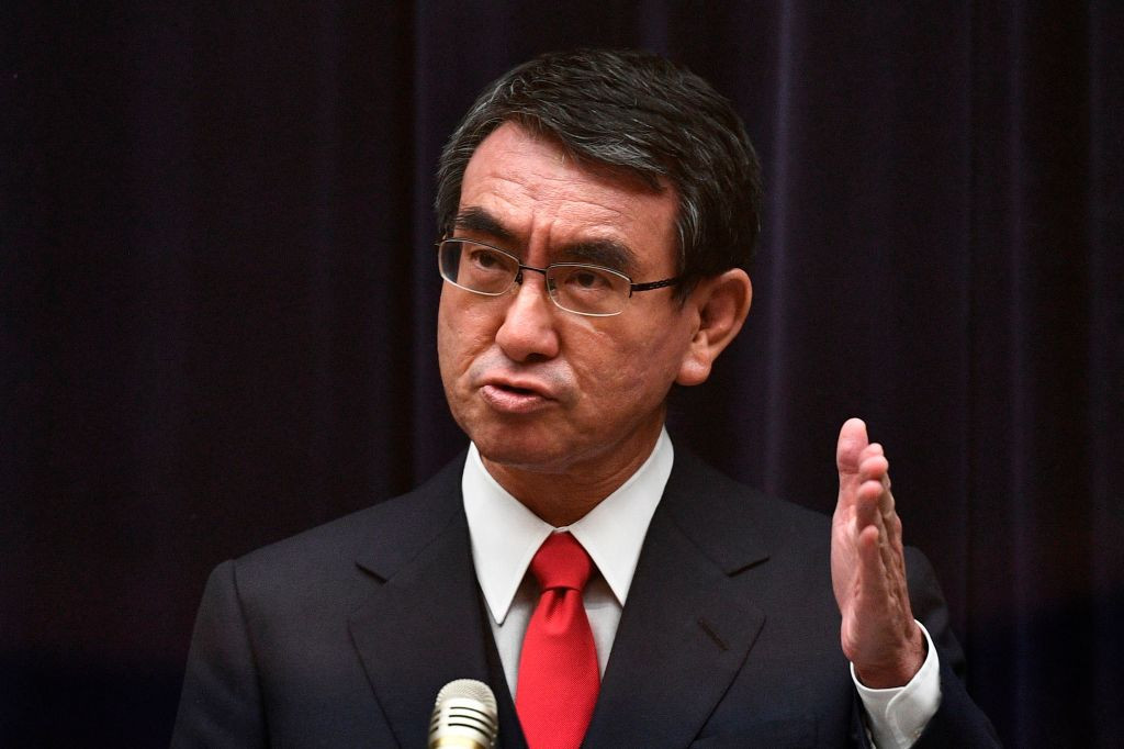 Japan's Vaccine Minister Taro Kono said inoculation of the elderly would begin in April but at a slower pace than had been anticipated ©Getty Images