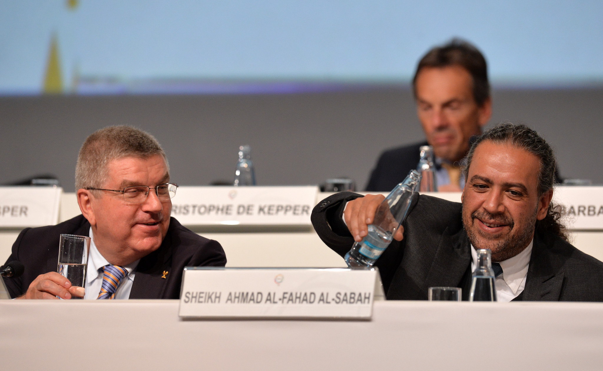 Sheikh Ahmad has been credited with helping Thomas Bach, left, become IOC President ©Getty Images