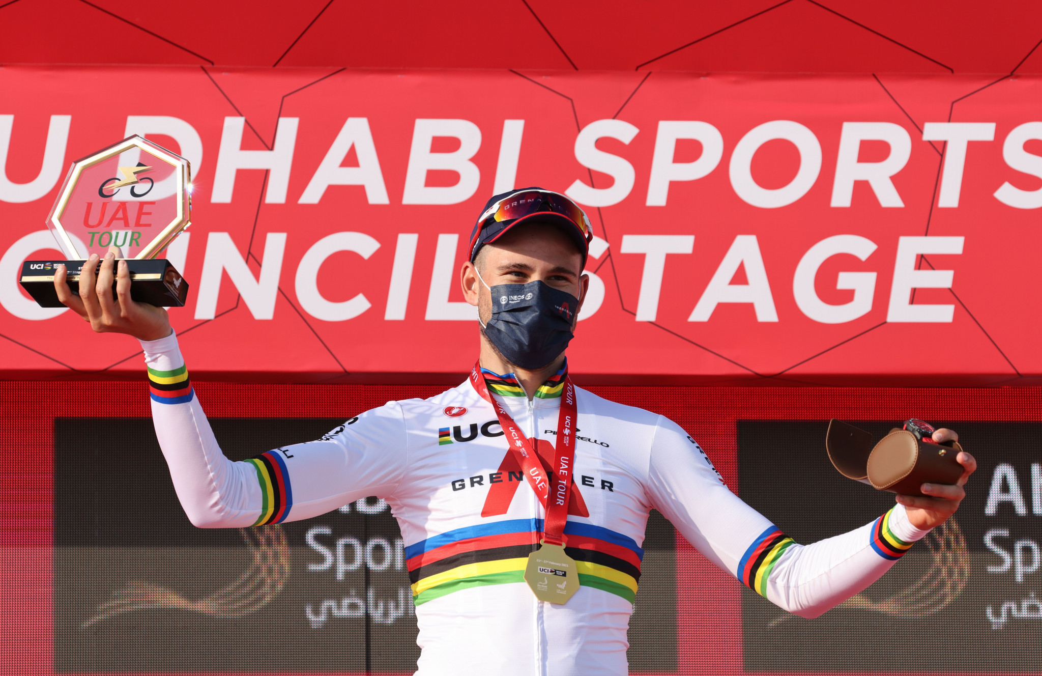 Filippo Ganna claimed his eighth consecutive individual time trial victory in the United Arab Emirates ©Getty Images