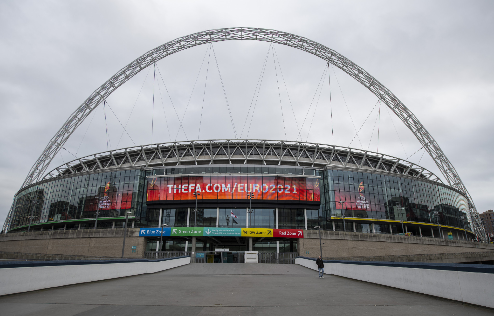 London's Wembley Stadium is due to host seven matches at the postponed Euro 2020 and fans could now be present following the easing of coronavirus restrictions in time for the tournament ©Getty Images