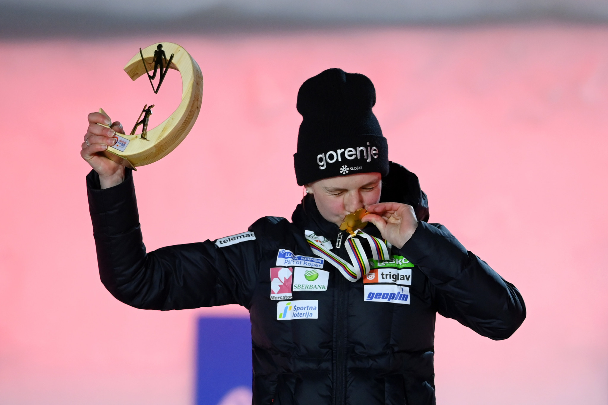 Slovenia's Ema Klinec triumphed in the women's normal hill ski jumping event ©Getty Images