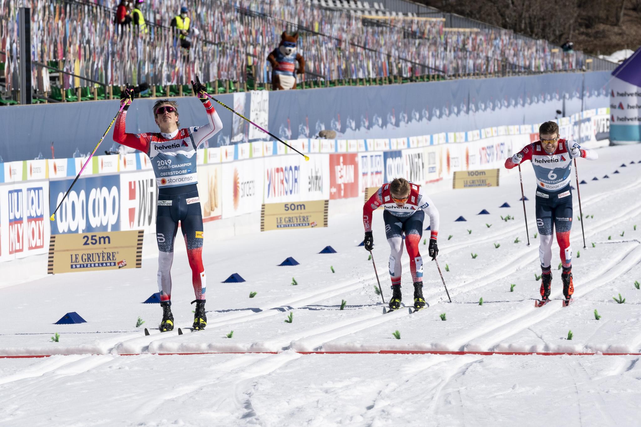 Johannes Høsflot Klæbo, left, led a Norwegian clean sweep in the men's cross-country sprint event ©Getty Images