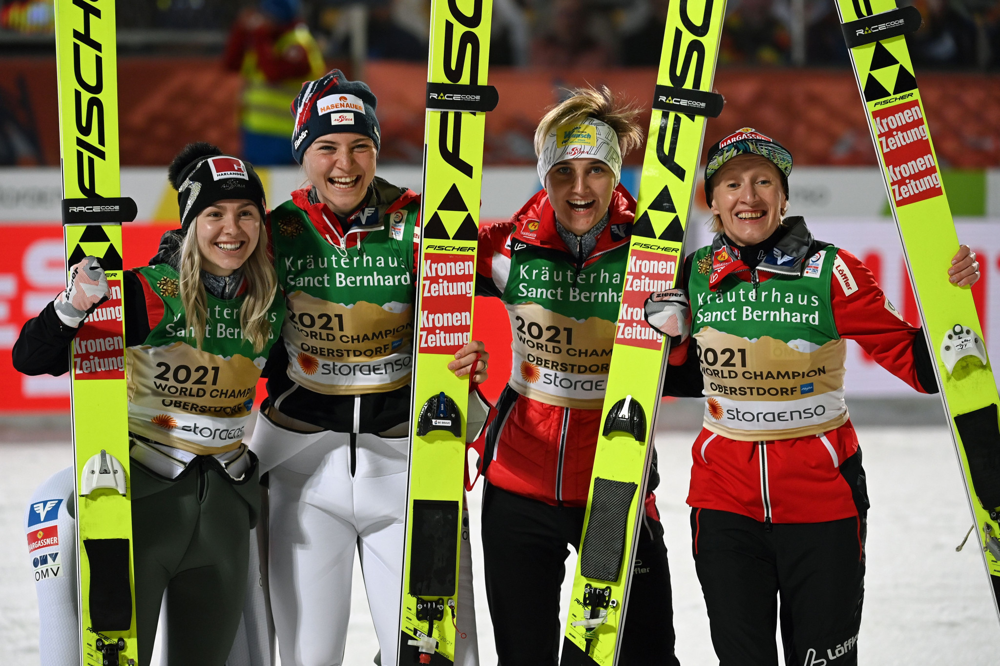 Austria won the women's team normal hill ski jumping title ©Getty Images