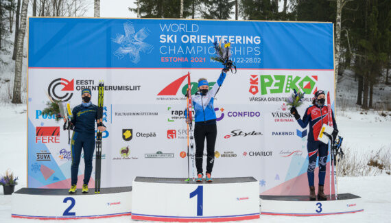 Home athlete Daisy Kudre won a second gold at the World Ski Orienteering Championships in Estonia ©WOF