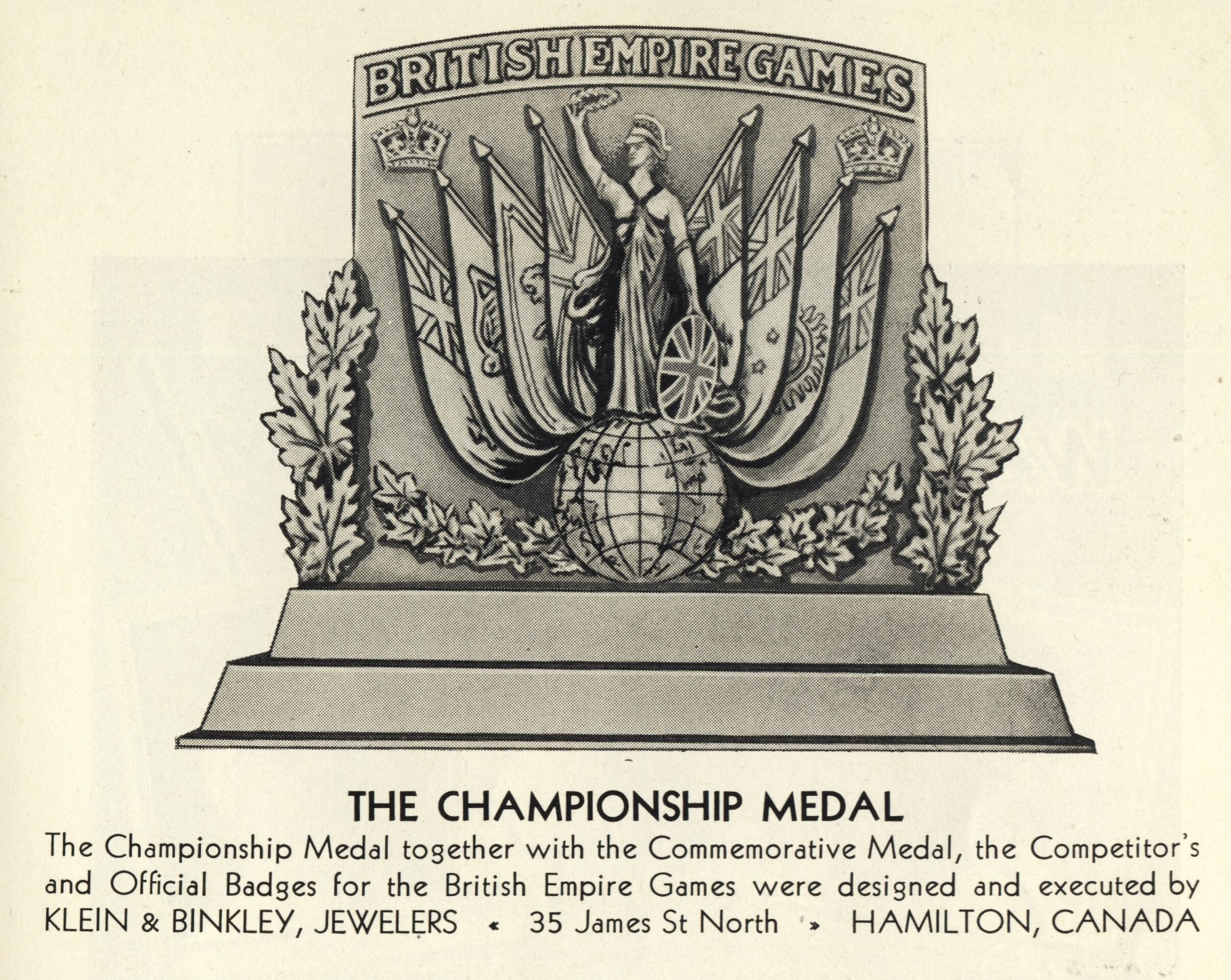 An image of the medals which were presented in Hamilton in 1930 ©ITG