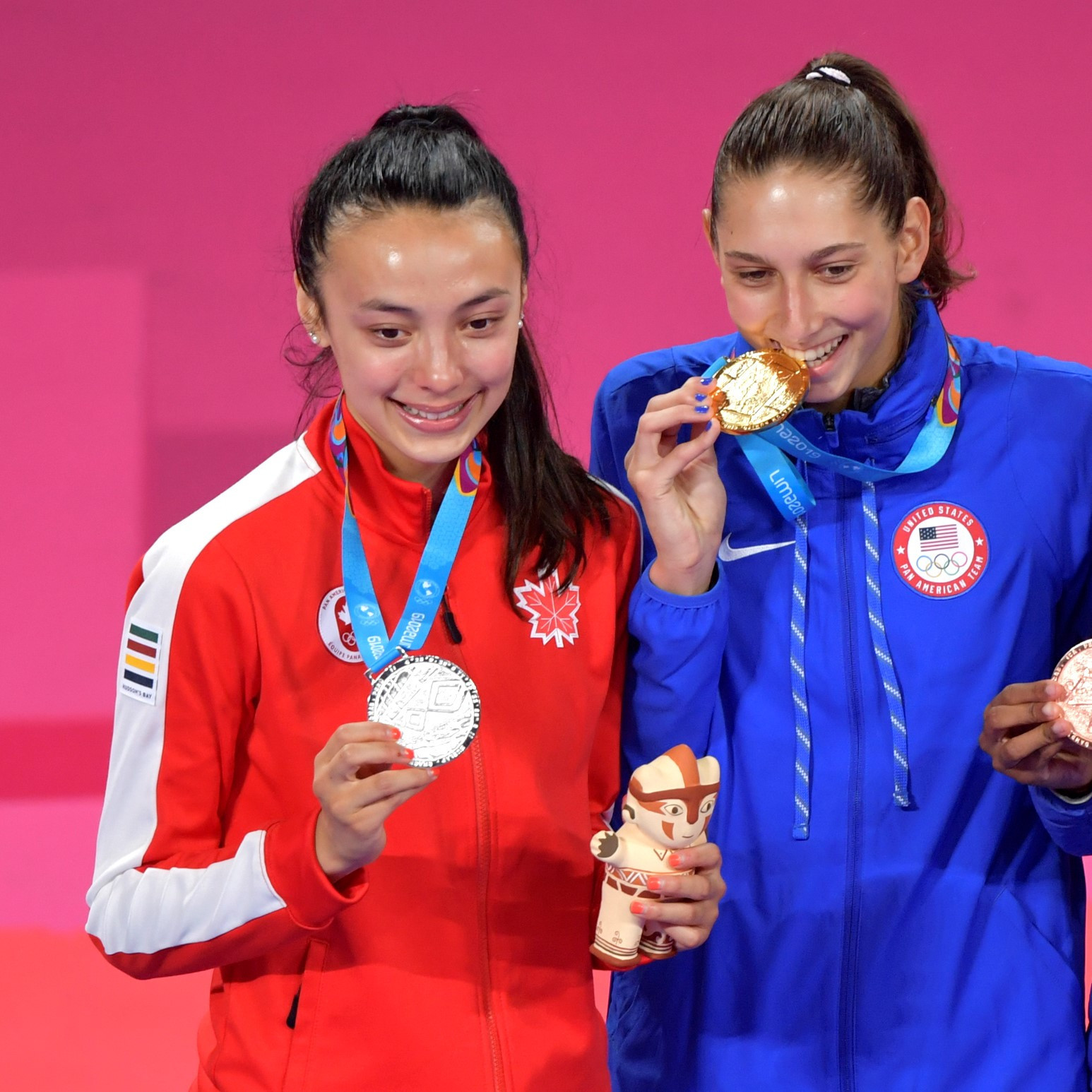 Skylar Park, left, was runner-up at the Lima 2019 Pan American Games ©Getty Images