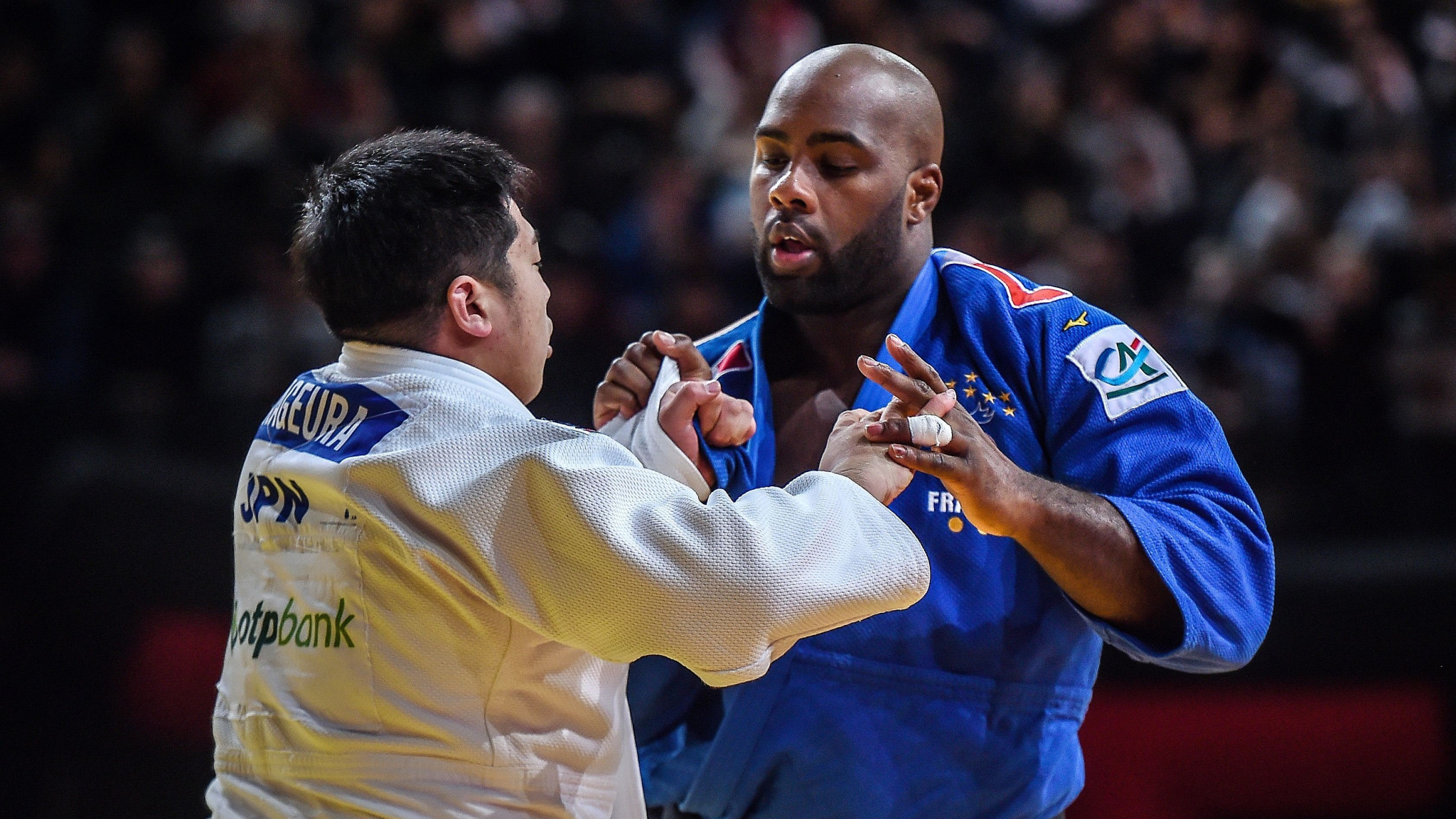 Kokoro Kageura, left, shocked French icon Teddy Riner in Paris ©Getty Images