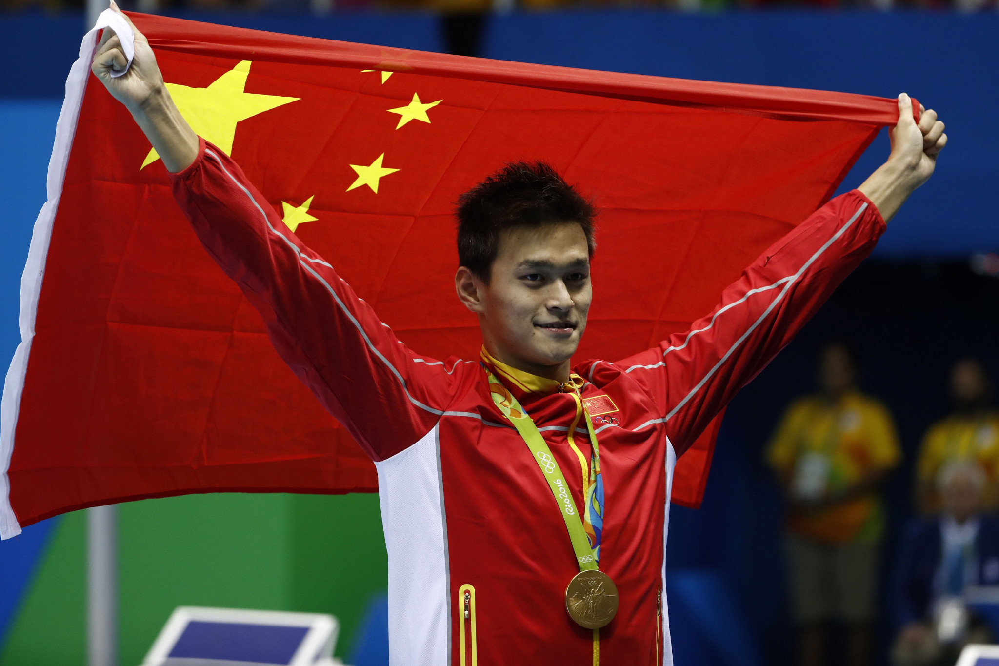 Cornel Marculescu's embrace of convicted doper Sun Yang, above, at Rio 2016 did not go down well with other swimmer and advocates for clean sport ©Getty Images