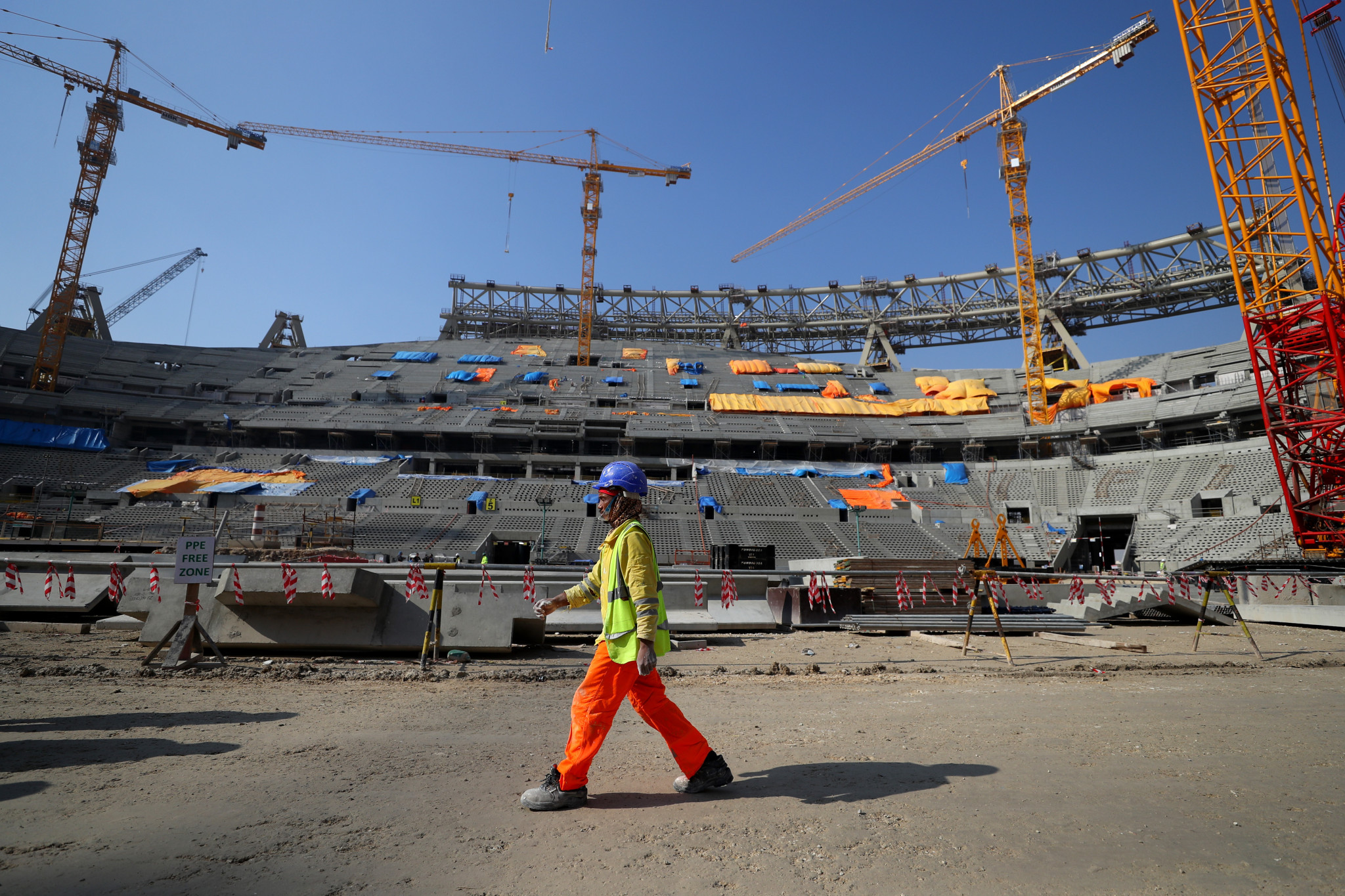 Around 6,500 workers constructing stadiums for the 2022 FIFA World Cup are thought to have died ©Getty Images