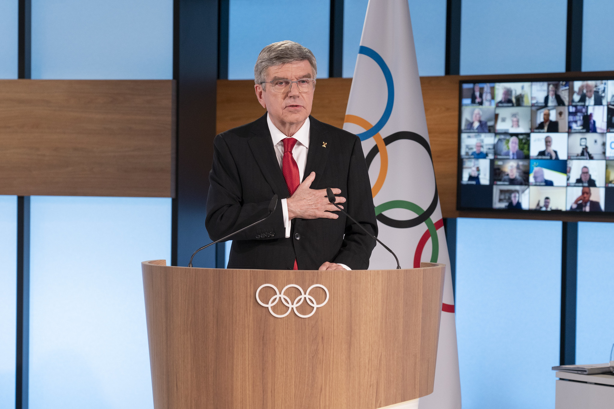 Thomas Bach was re-elected with 93 votes, with one against and four abstentions ©IOC