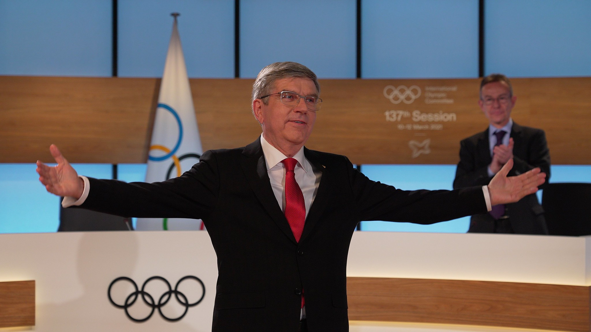 IOC President Thomas Bach called for an amendment to the Olympic motto following his re-election at today's virtual Session ©IOC