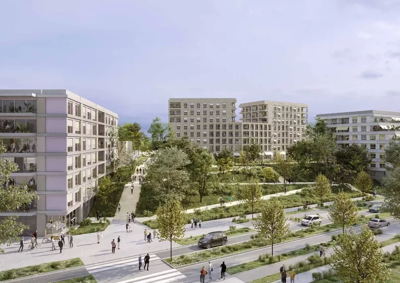 Protest groups have objected to the building of the Media Village for the Paris 2024 Games on a public green space ©Solideo