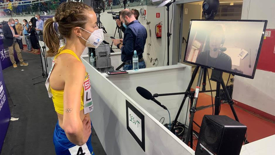 An innovative virtual mixed zone set up for media who were not in Torun was a key innovation at the European Athletics Indoor Championships held in Torun, Poland last weekend ©European Athletics