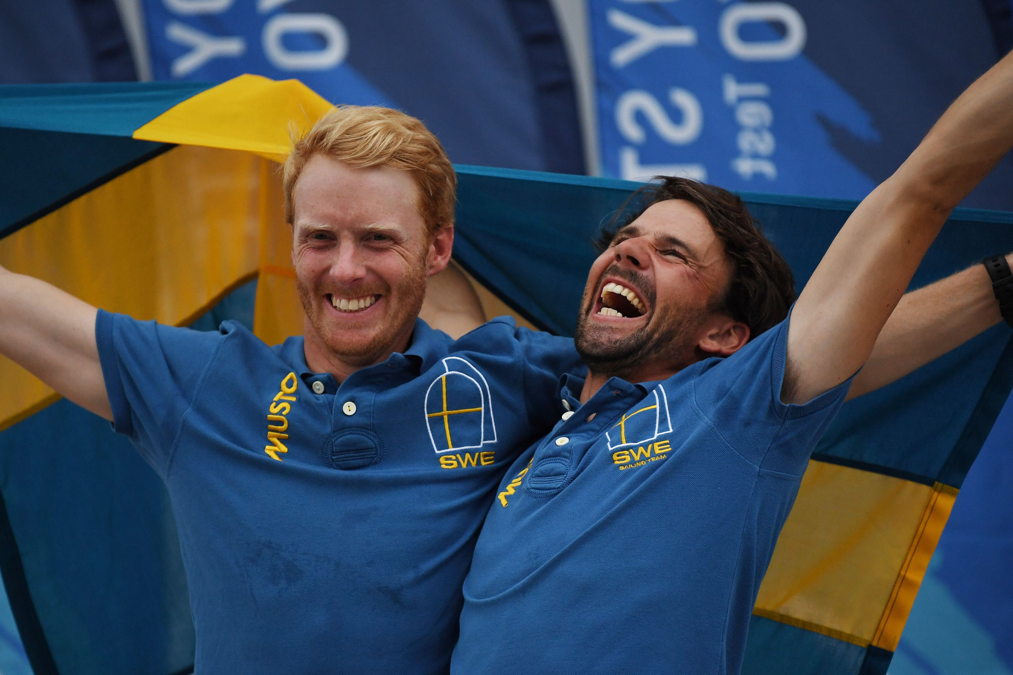 Anton Dahlberg and Fredrik Bergström claimed gold in the men's 470 World Championship ©Getty Images
