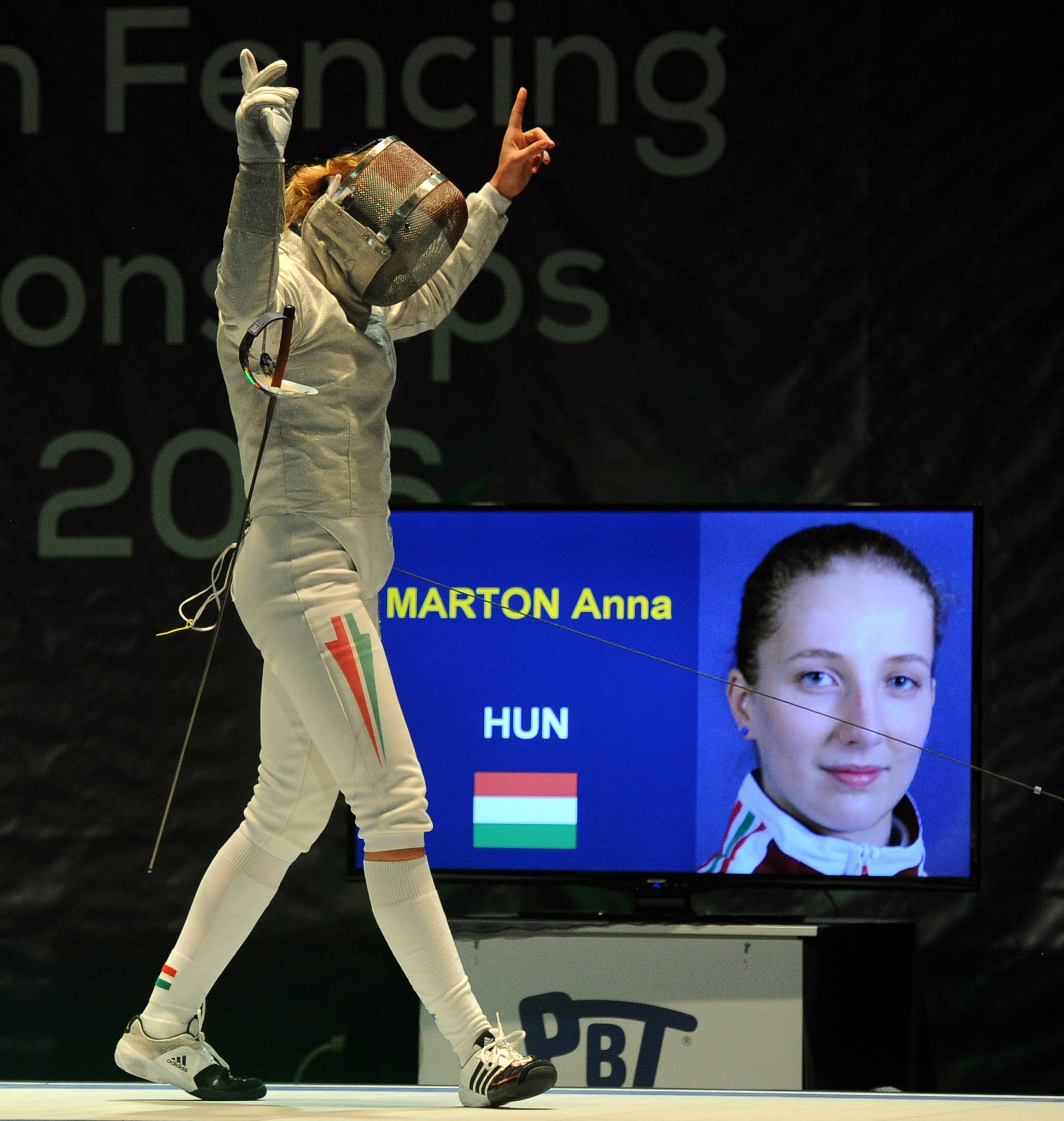 Hungary's Anna Márton defeated France's Cecilia Berder to win gold at the FIE Sabre World Cup in Budapest ©Getty Images