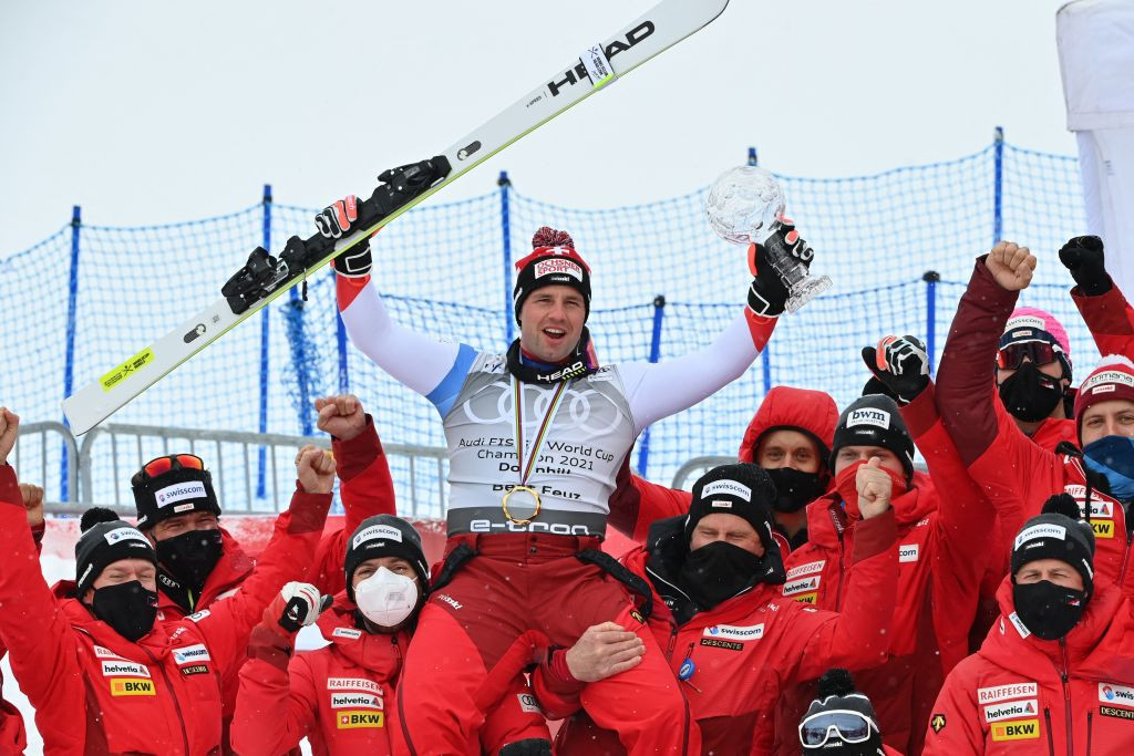 Switzerland's Beat Feuz celebrates after being crowned overall FIS Alpine Skiing World Cup downhill champion ©Getty Images