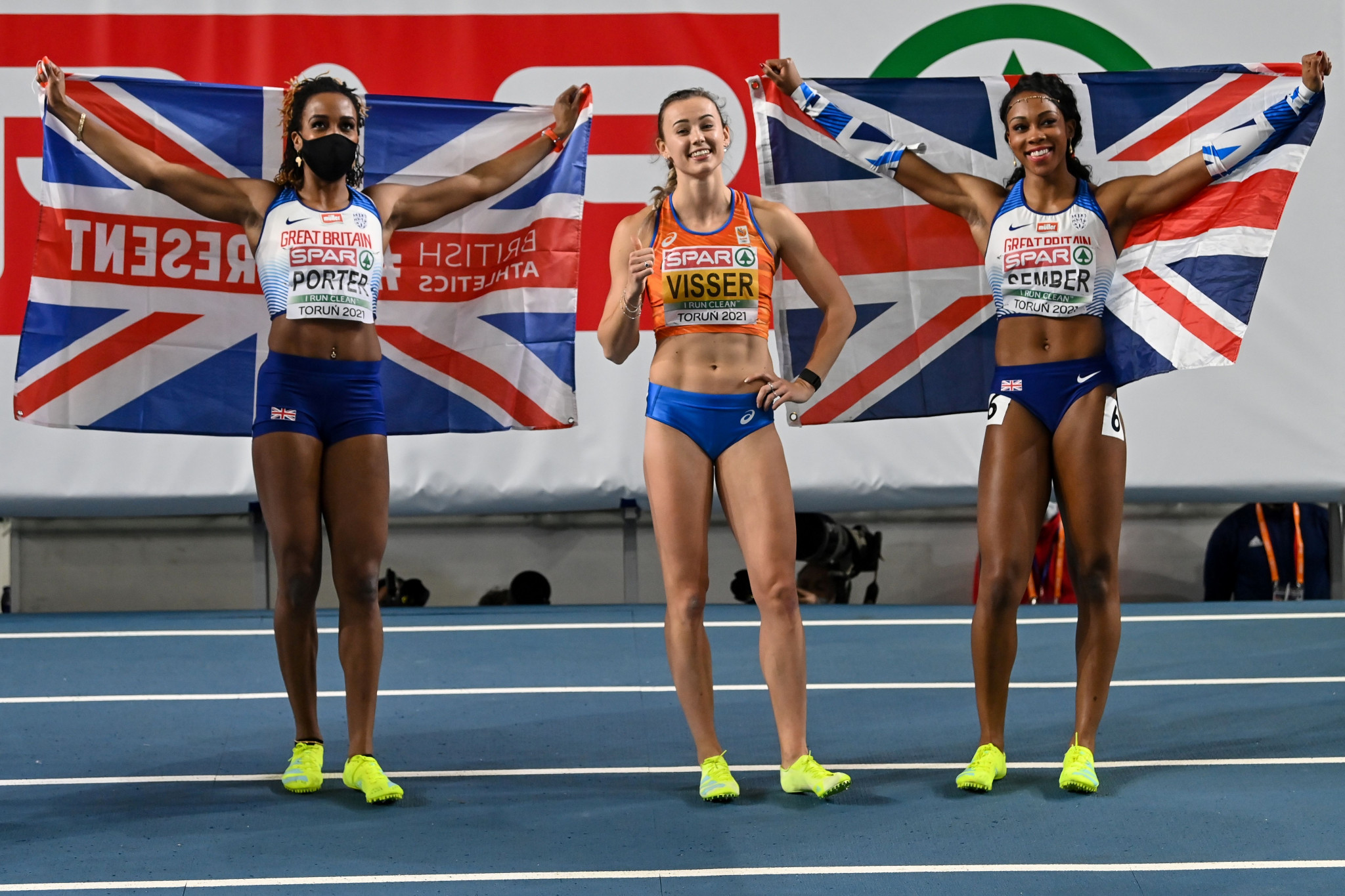 Tiffany Porter and Cynthia Sember helped Britain achieve a record-equalling 12 medals at the European Indoor Championships ©Getty Images