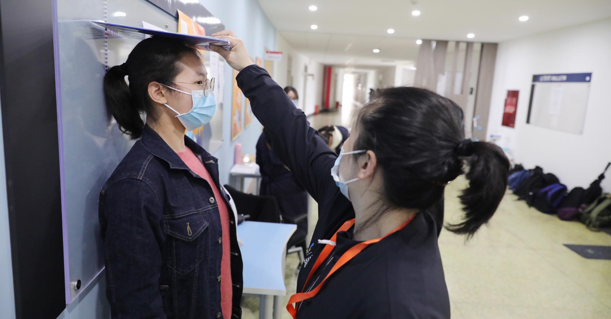 The height of potential ceremonies volunteers were measured ©Chengdu 2021