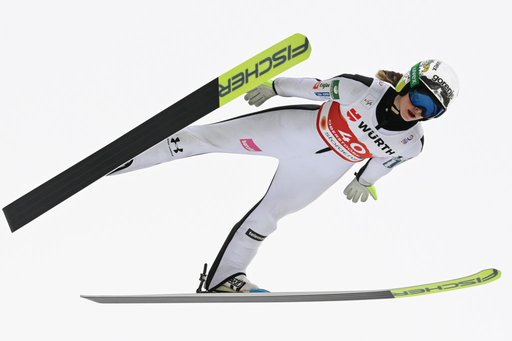 Slovenia's Nika Križnar, narrow leader of this season's Ski Jumping World Cup, finished second qualifier for the first of the season's two concluding events in Chaikovsky ©Getty Images
