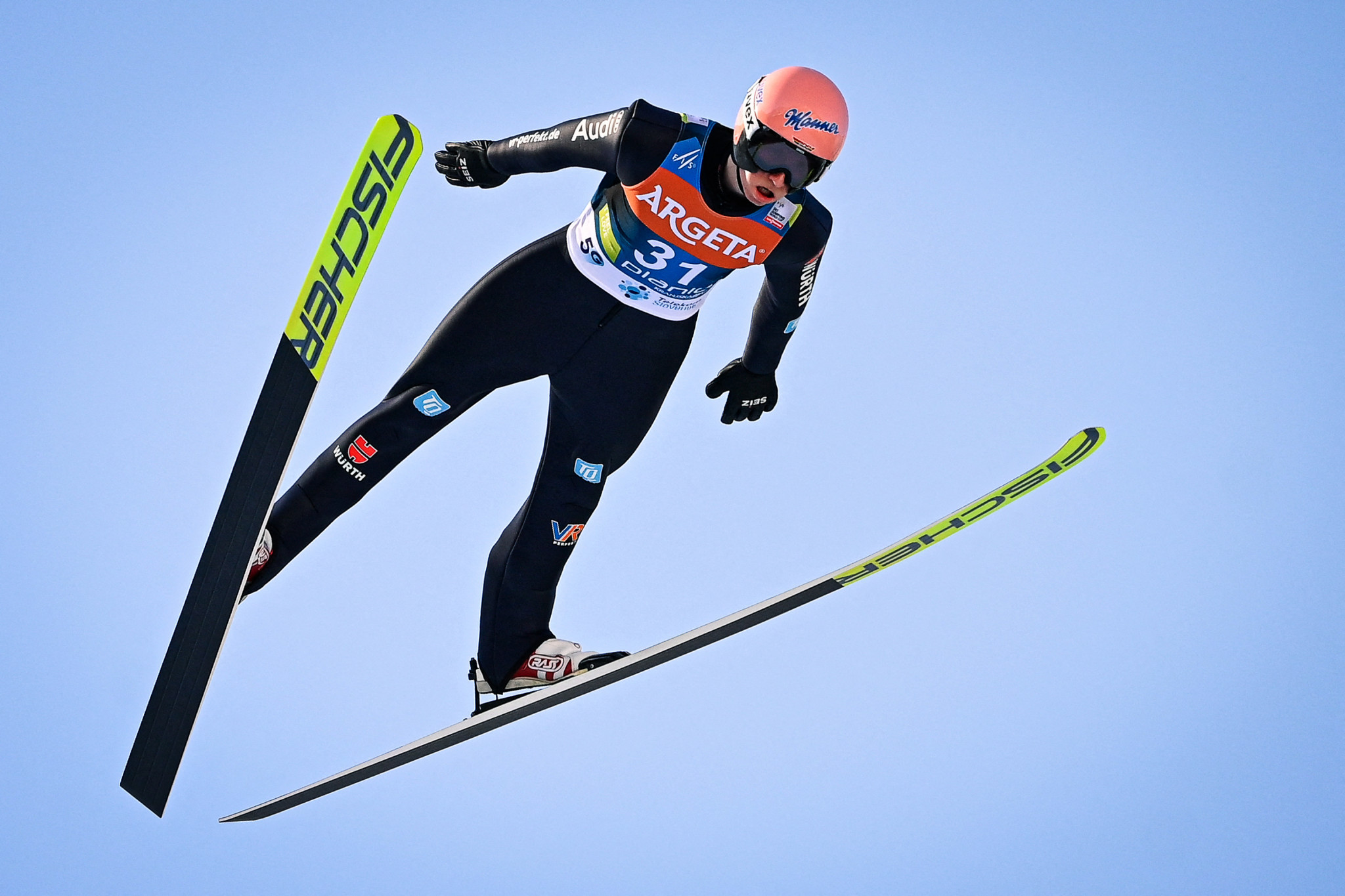 Karl Geiger won a wind-interrupted Ski Jumping World Cup in Planica today ©Getty Images