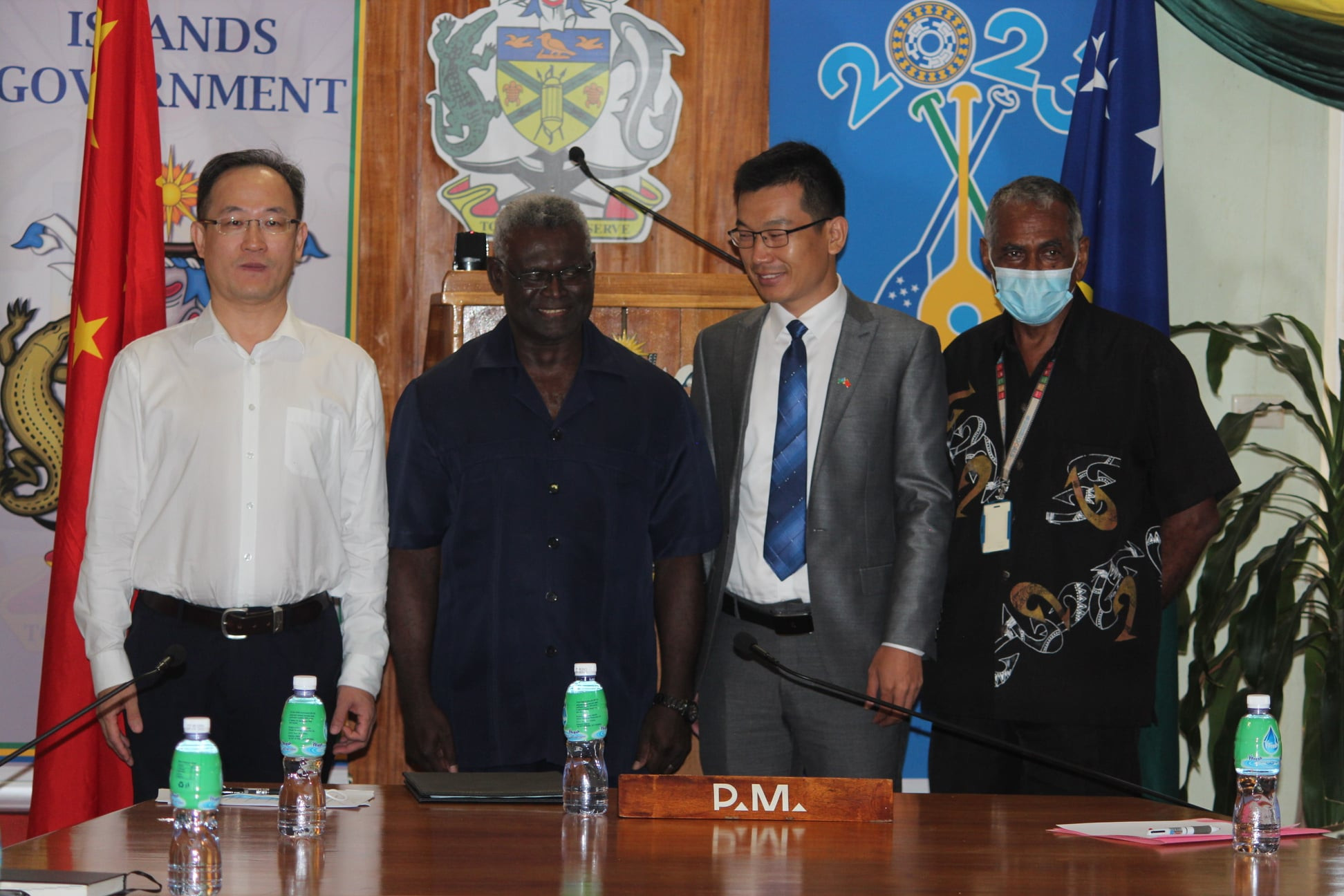 Solomon Islands Prime Minister Manasseh Sogavare, second left, attended the announcement the China Civil Engineering Construction Corporation had won a major contract to build 2023 Pacific Games facilities ©Solomon Islands 2023