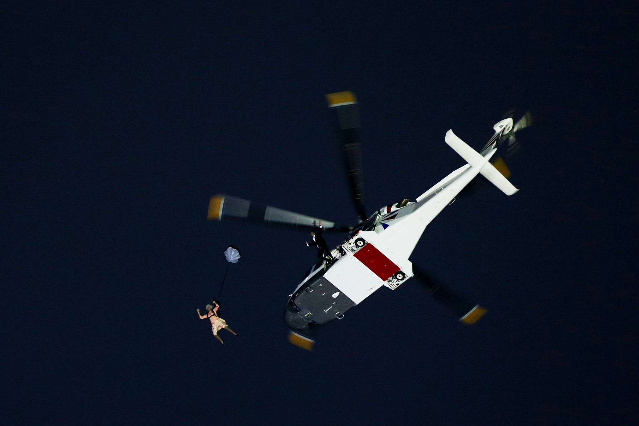 A parachute stunt featuring