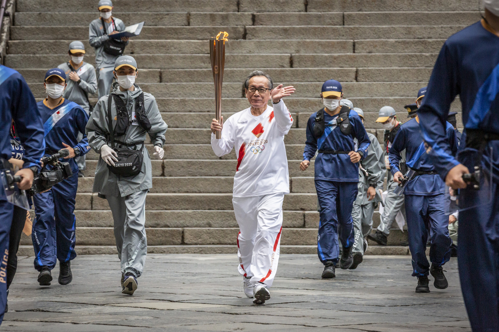 The Olympic Flame is on a 121-day journey across Japan ©Getty Images