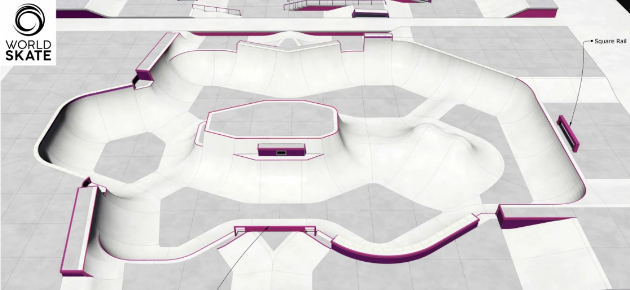 The proposed park course for Tokyo 2020 ©California Skateparks