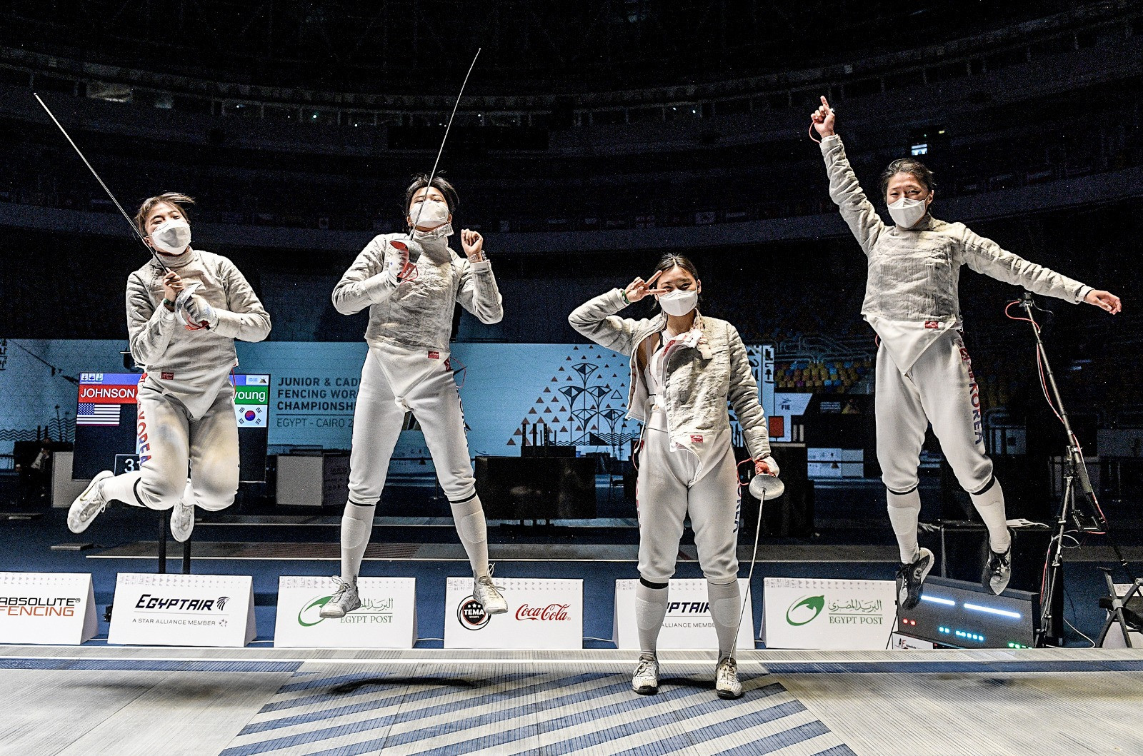 South Korea claimed the women's team junior sabre title today in Cairo ©Bizzi/FIE