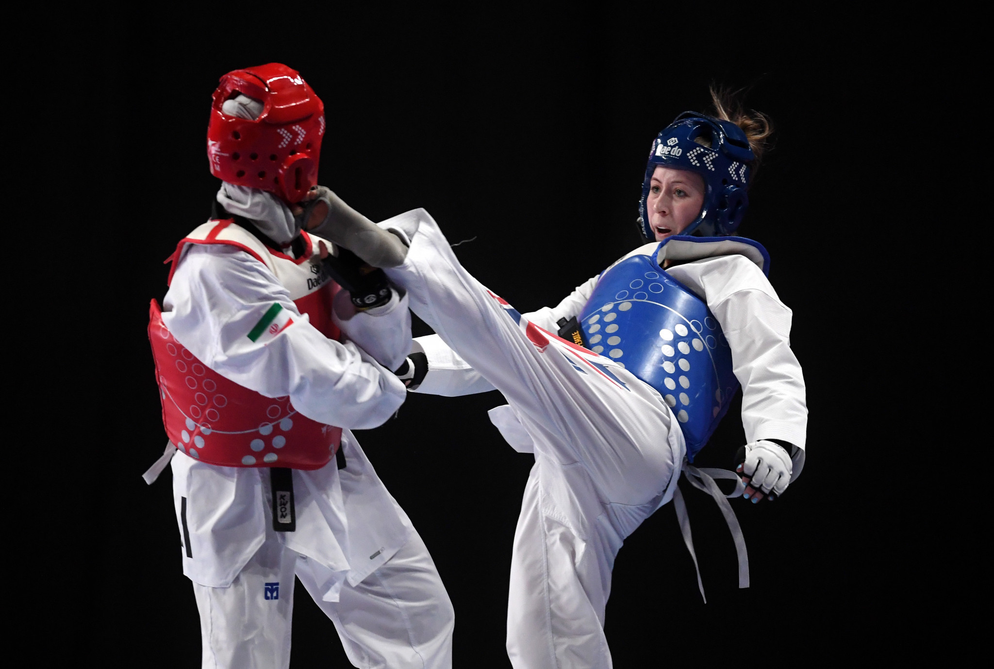 Britain's Jade Jones, in blue, will hope to defend her European title in Sofia ©Getty Images