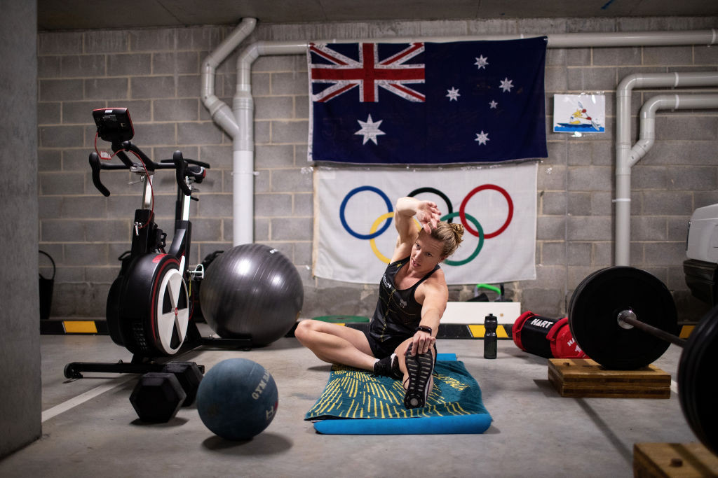 Australia's Olympic sprint kayaker Jo Brigden-Jones, pictured working out in her garage during the pandemic as she targets Tokyo 2020, works full-time as a paramedic with New South Wales Ambulances ©Getty Images