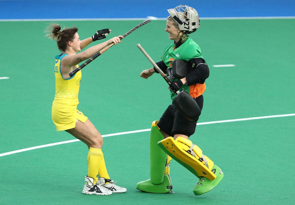 Rachael Lynch, right, goalkeeper for the Australian women's hockey team for the last decade, has been working full-time during the pandemic as a nurse at a Perth hospital ©Getty Images