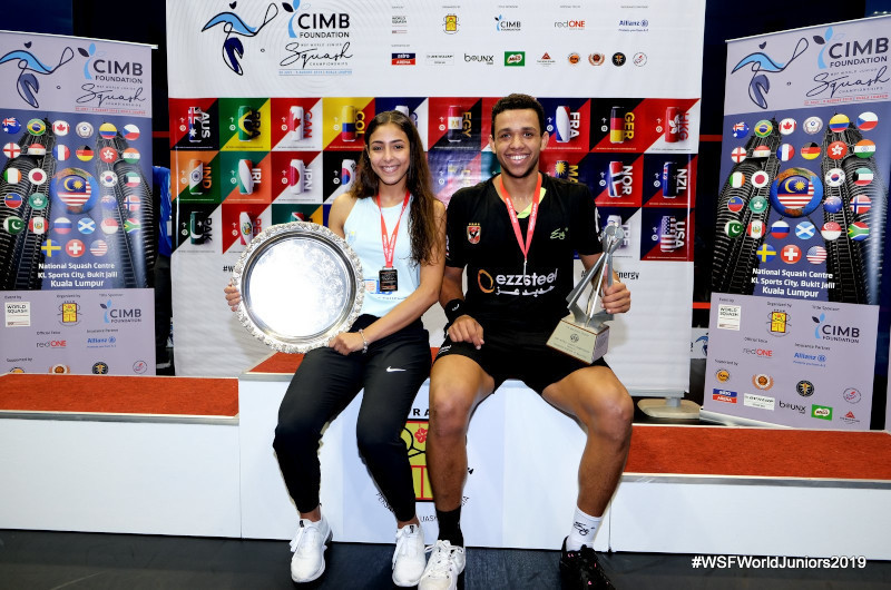 Hania El Hammamy and Mostafa Asal are the defending men's and women's champions in the World Junior Squash Championships ©WSF