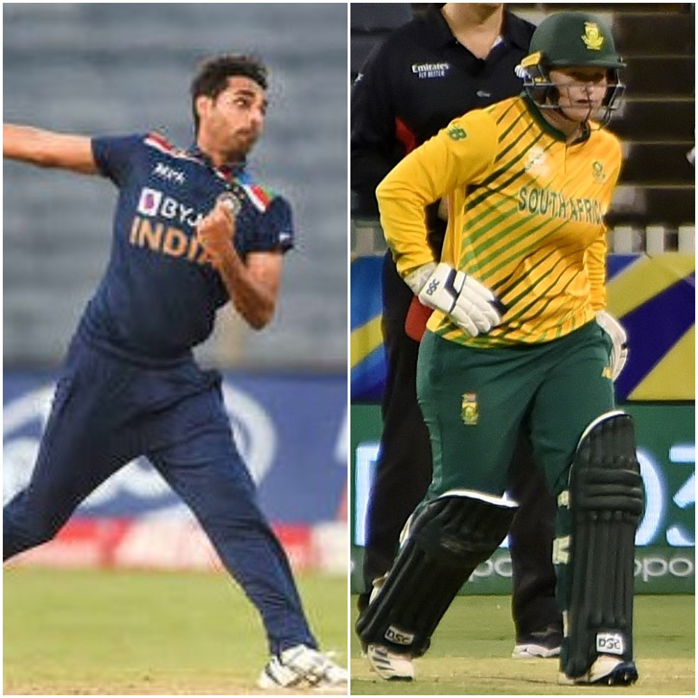 India's Bhuvneshwar Kumar, left, and South Africa's Lizelle Lee, right,  have been voted as the International Cricket Council Players of the Month for March ©Getty Images