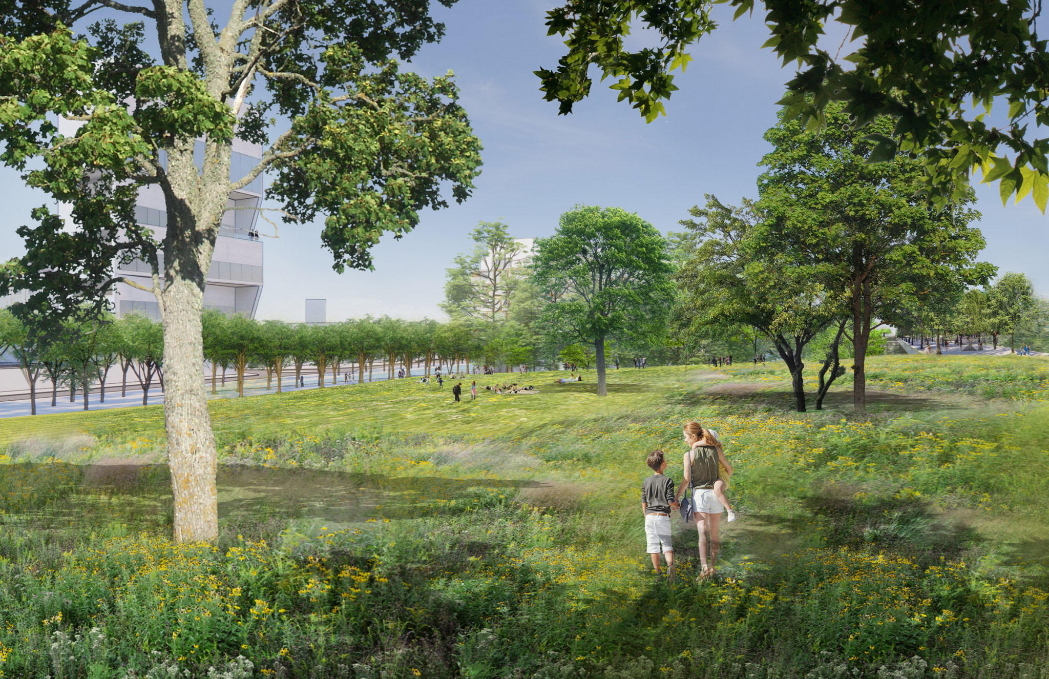A target set for the regeneration of Milan's former Porta Romana railway yard is to provide more green spaces in the city ©PLP Architecture