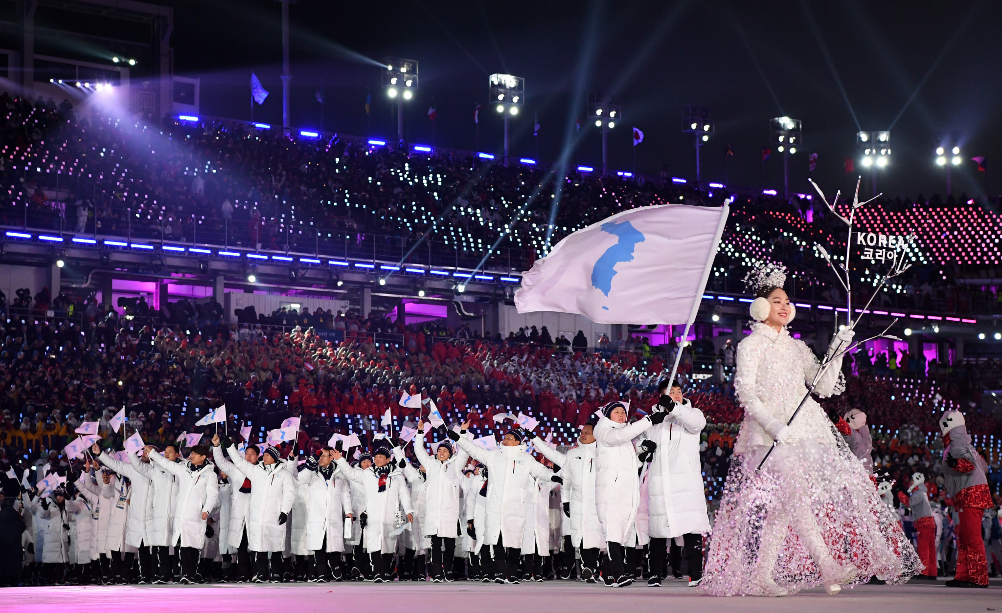 A unified Korean delegation walked at the Pyeongchang 2018 Opening Ceremony ©Getty Images
