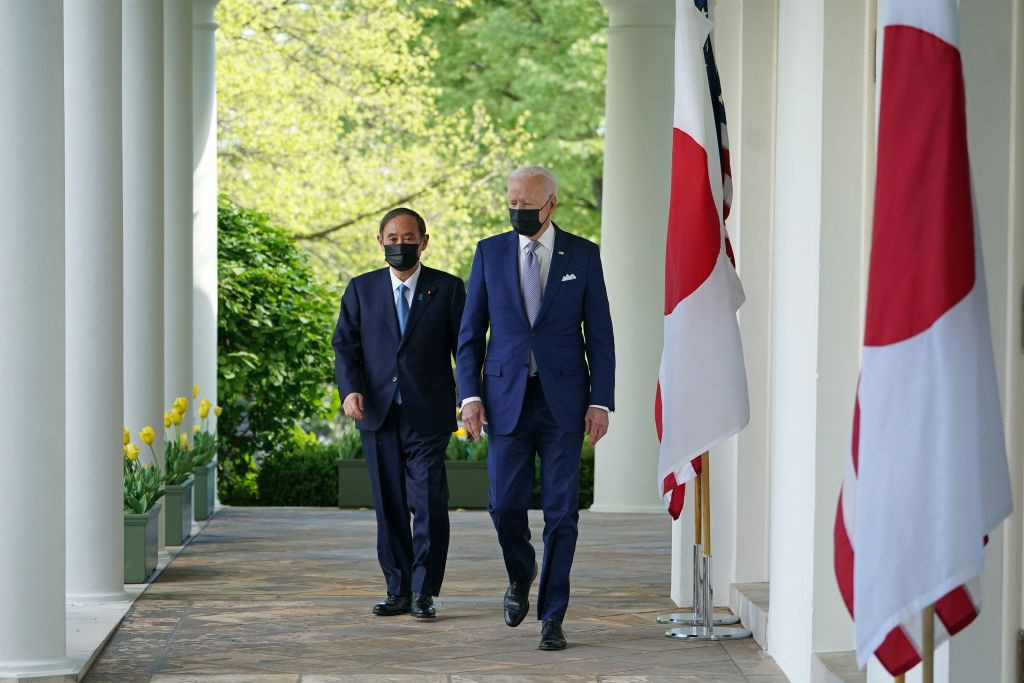 Joe Biden and Yoshihide Suga met in Washington, with Tokyo 2020 among the topics discussed ©Getty Images