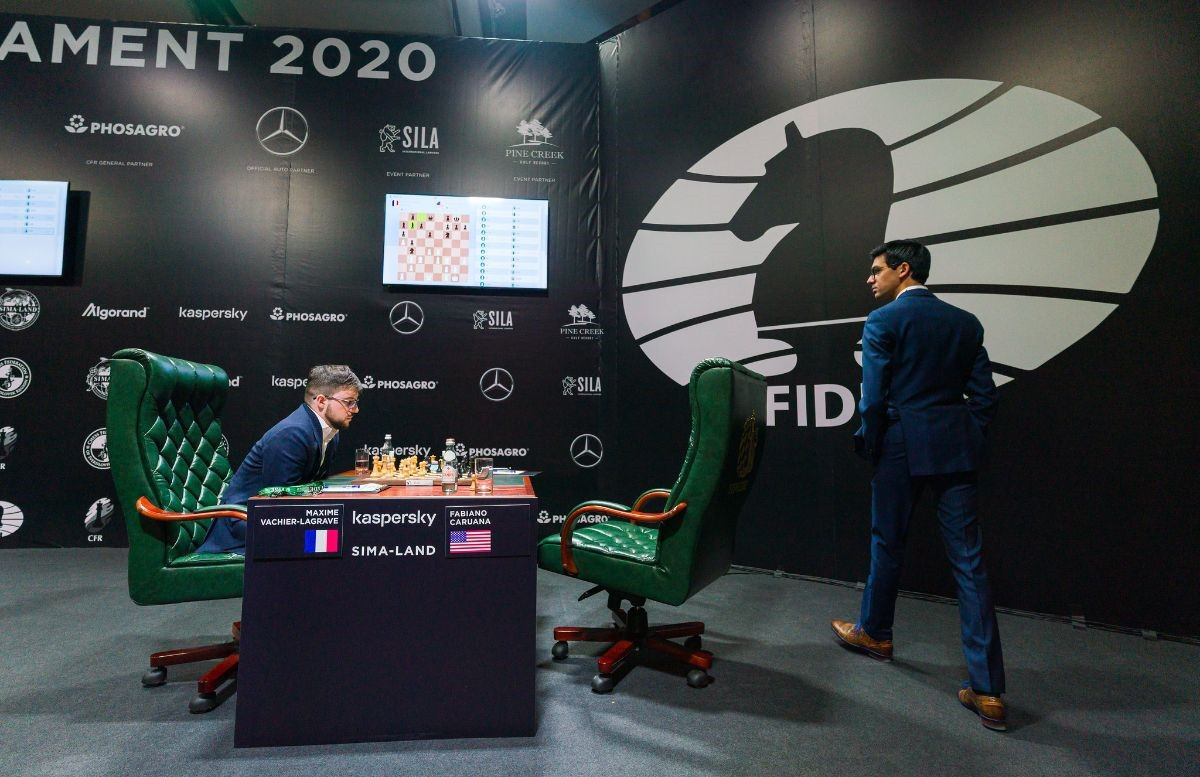 Maxime Vachier-Lagrave and Fabiano Caruana will meet in round eight of the Candidates Tournament ©FIDE