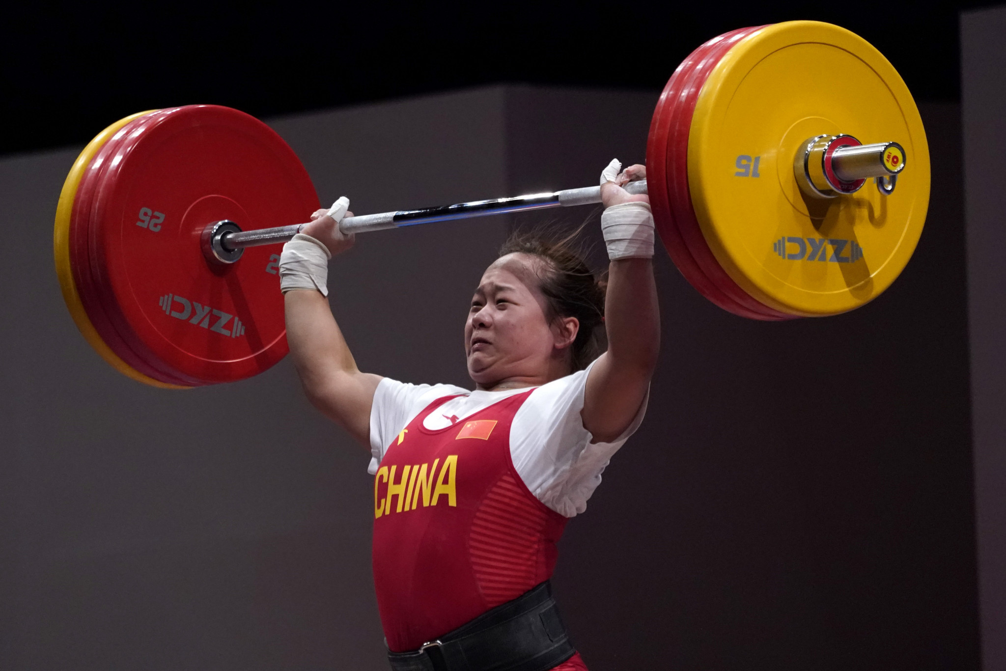 China's Zhang Wangli will go top of the Olympic rankings after winning the women's 76kg category at the Asian Championships ©Getty Images