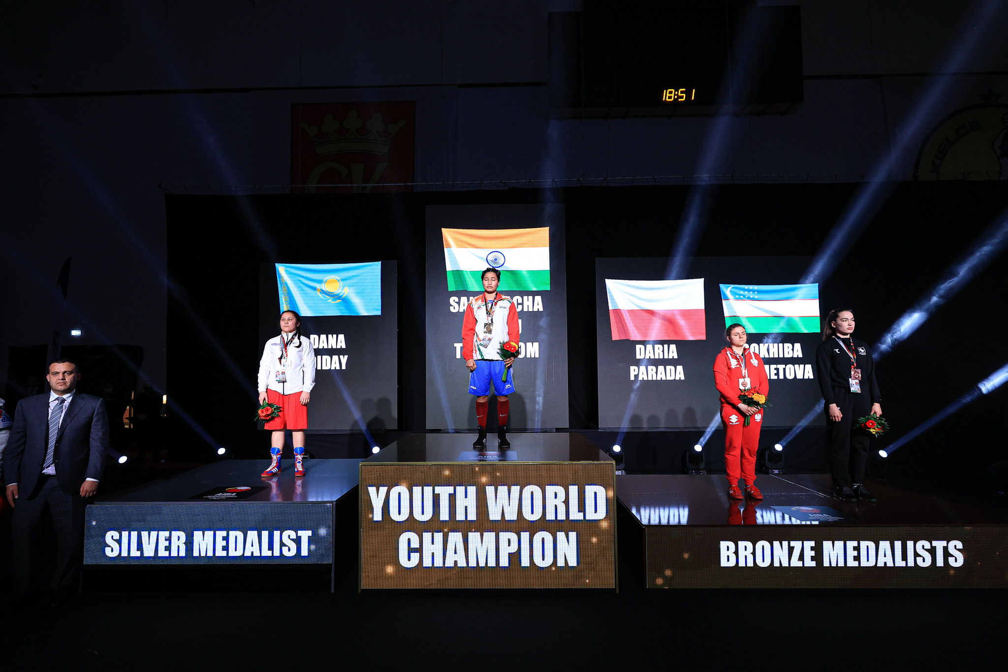 The podium for the women's middleweight category ©AIBA