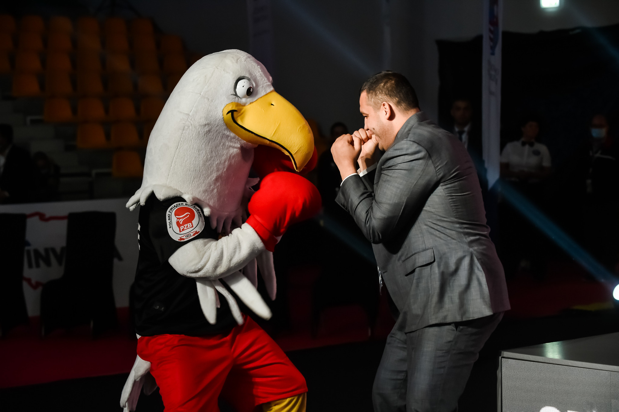 AIBA President Umar Kremlev engages in a spot of sparring with the tournament's mascot ©AIBA