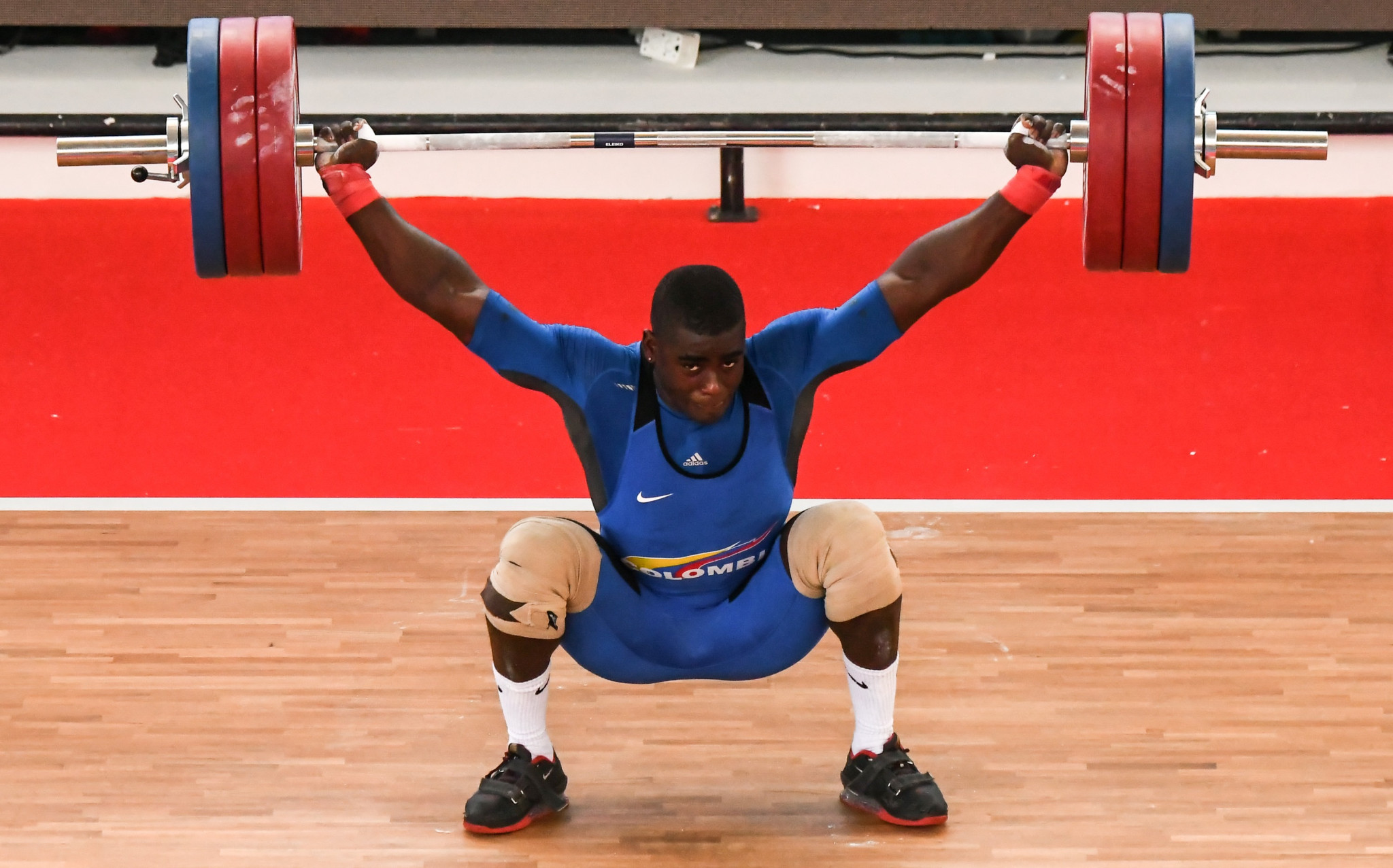 Jhonatan Rivas of Colombia won the men's 96kg at the Pan American Weightlifting Championships in Santo Domingo ©Getty Images