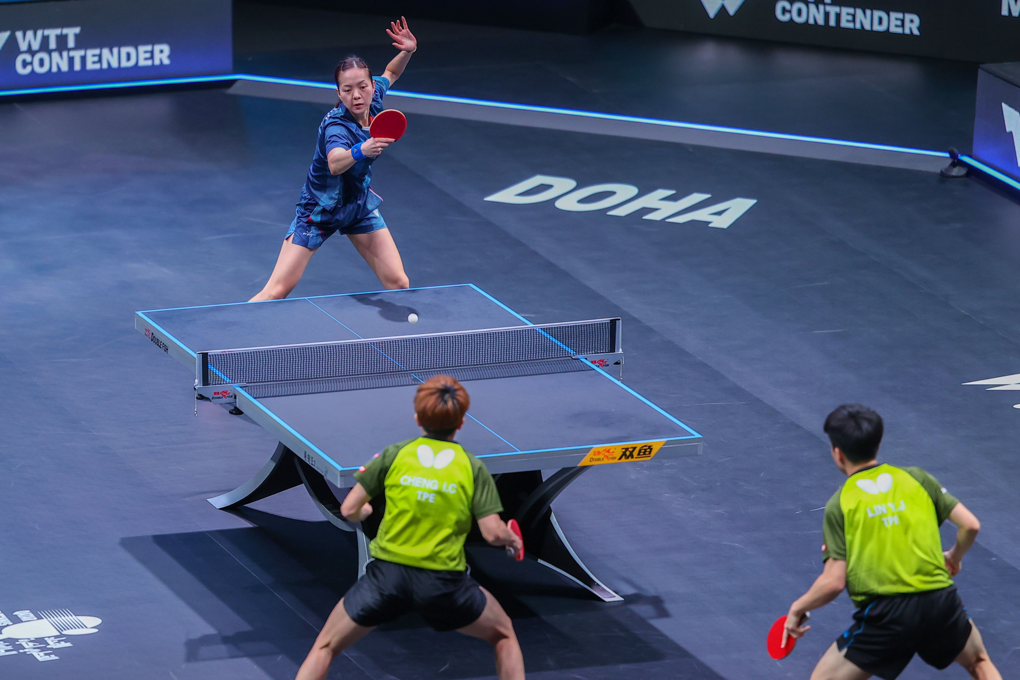 Yuan Jia Nan, in blue, is set to represent France at Tokyo 2020 after winning her semi-final at the ITTF European Olympic singles qualification tournament ©Getty Images