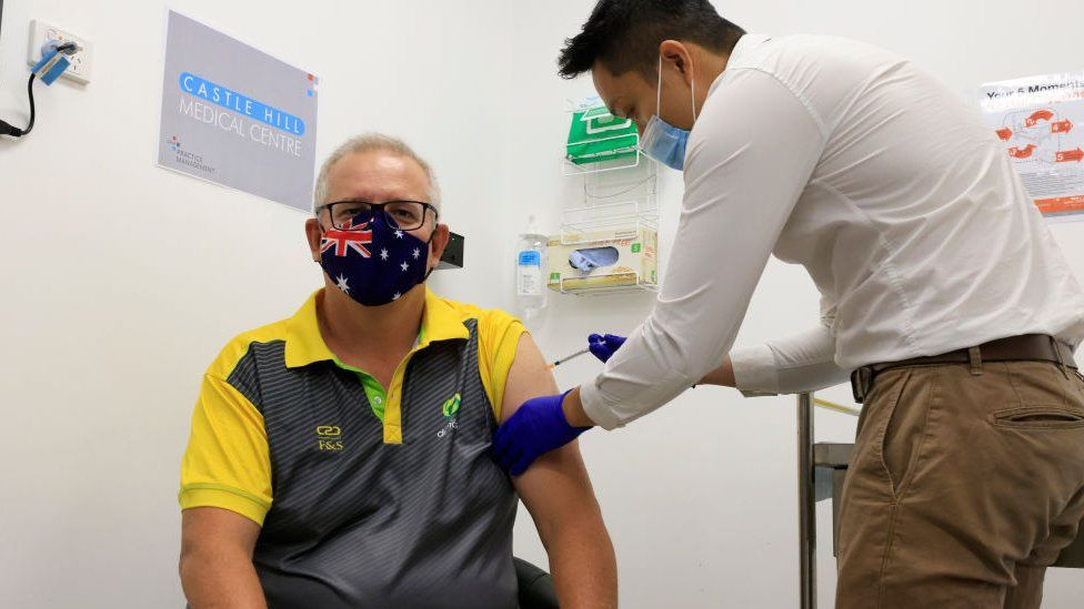 Prime Minister Scott Morrison was among the first Australians to receive the COVID-19 vaccine in February as part of a programme that will now be extended to the country's Tokyo 2020 team ©Getty Images