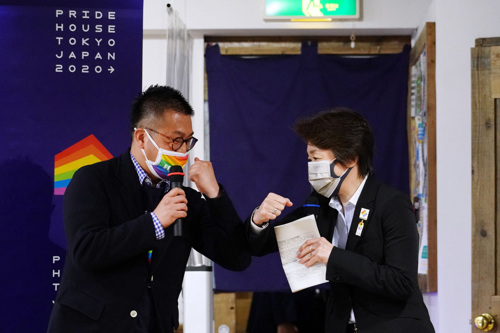 Gon Matsunaka, left, President of Pride House Tokyo hosted Seiko Hashimoto ©Getty Images