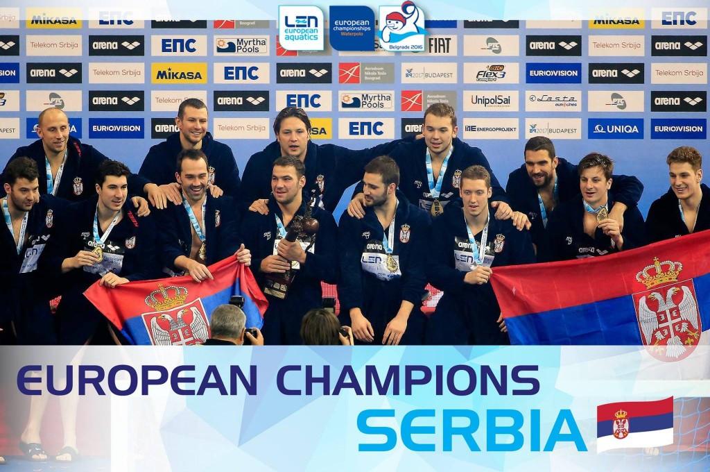 Hosts Serbia beat neighbours Montenegro in the final of the men's European Water Polo Championships ©Belgrade 2016/Facebook