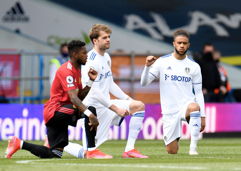 Leeds United forward Patrick Bamford, pictured centre with team mate Tyler Roberts and Manchester United's Fred, asked why racism within football was not getting the urgent attention recently paid to the campaign to halt the proposed European Super League ©Getty Images