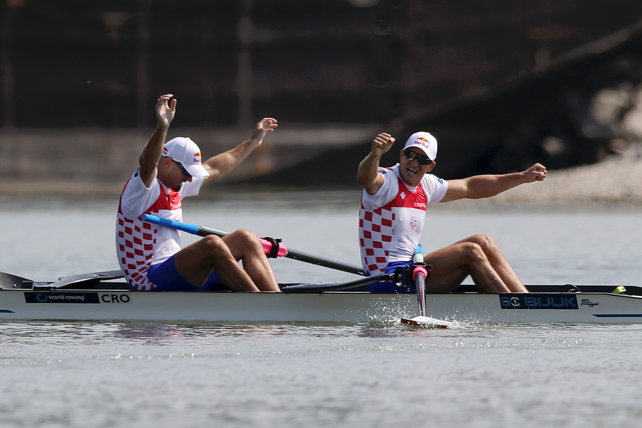 Brothers Martin and Valent Sinkovic were comfortable winners on home water in the men's pair at the year's first Rowing World Cup event in Zagreb ©Getty Images