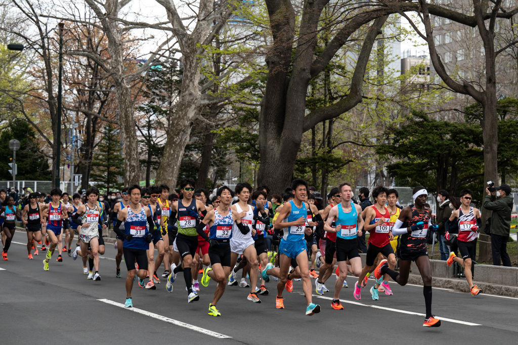 The field for the Tokyo marathon test event in Sapporo contained a small number of foreign runners in an event that was officially closed to the public ©Getty Images